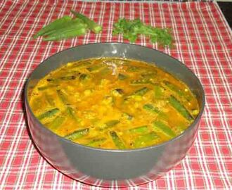 Bhendekayi sambar recipe - how to make ladies finger sambar