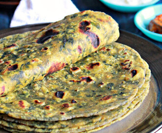 Methi Parathas - 2, Fenugreek Leaves ( Vendiya Keerai ) Parathas