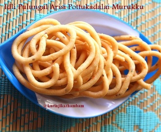 Parboiled Rice Murukku / Pulungal Arisi Murukku with Ulunthu and Pottukadalai Maavu