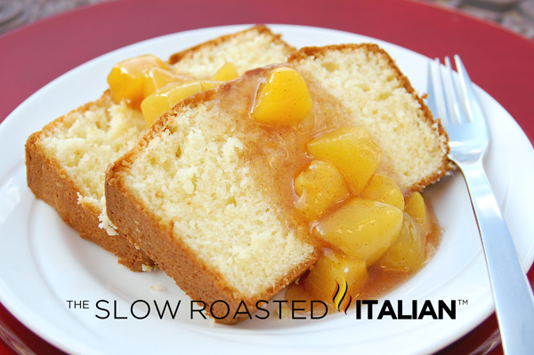 Simple Butter Cake with Peach Sauce