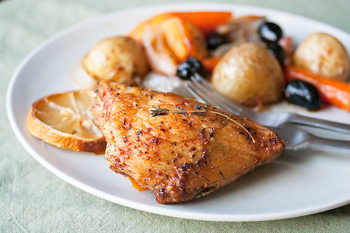 Spring Chicken: Spicy Roast Chicken with Carrots, Olives and Lemon