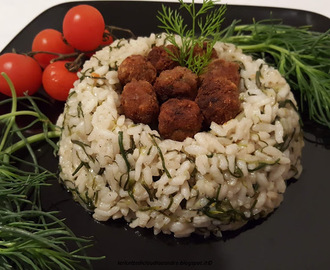 Risotto con agretti e polpettine all'aneto