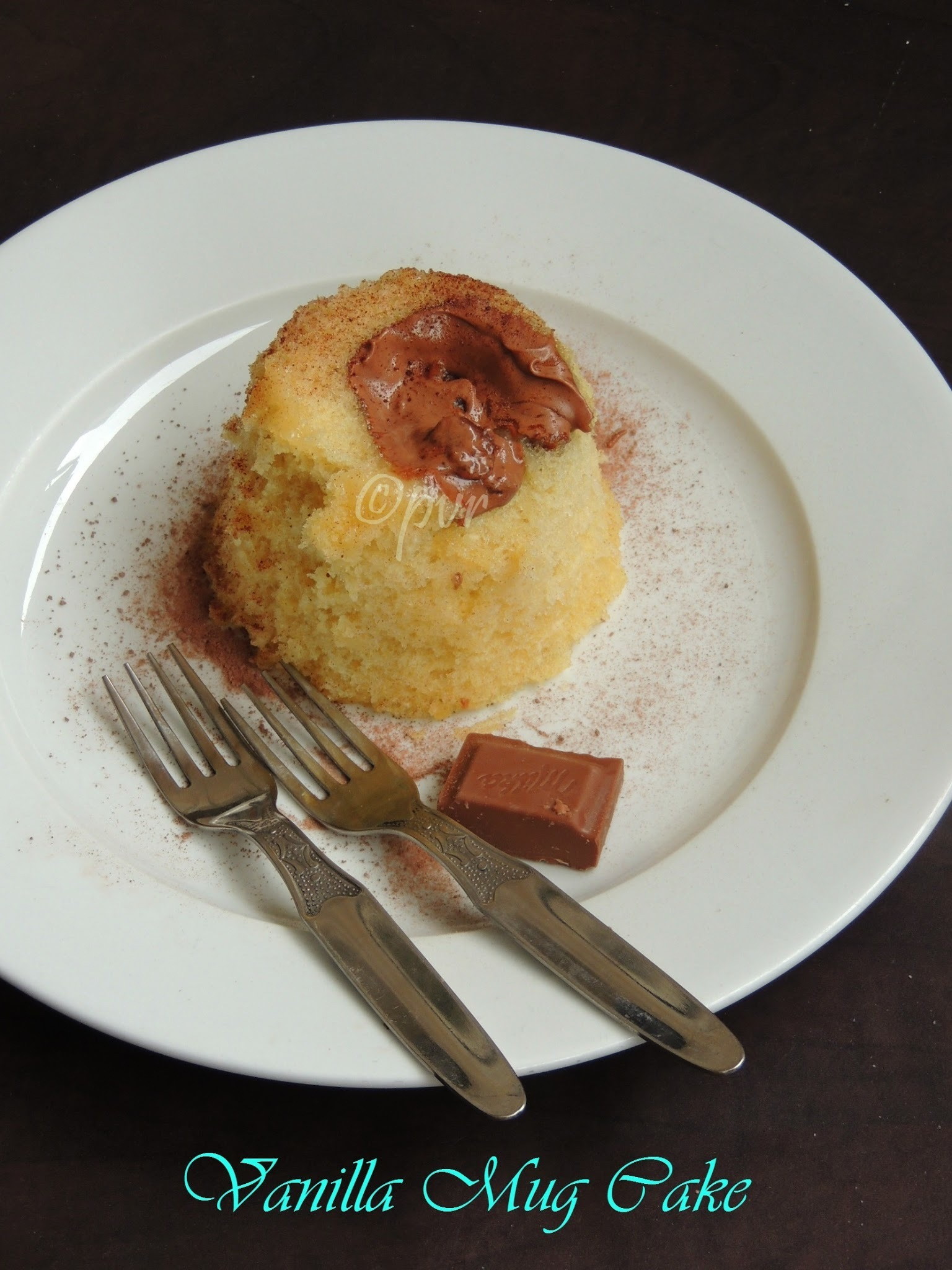 Eggless Vanilla Mug Cake with Milk Chocolate