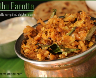 Kothu Parotta using leftover grilled chicken curry