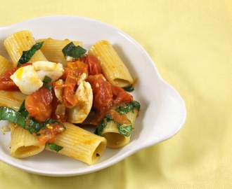 Rigatoni with Halibut, Tomato, and Basil