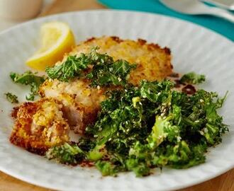 Breaded pork chops with crispy kale