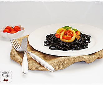 Linguine al nero di seppia com argolas do mar