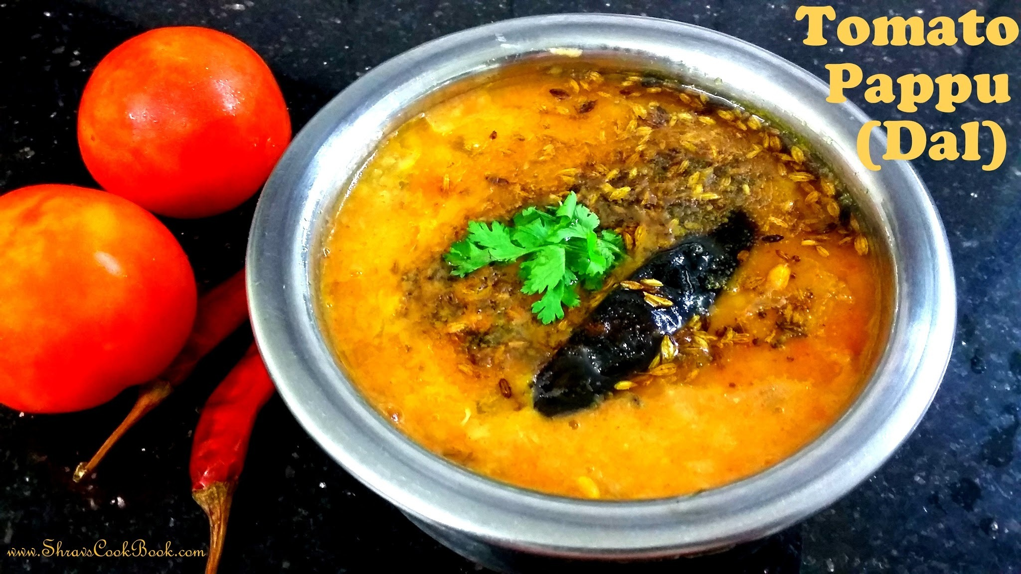 Tomato Pappu (Dal) Recipe in Telugu - How to make Tomato Pappu (Andhra Style) in Pressure Cooker