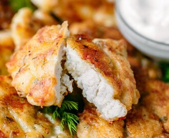 Cheesy Chicken Fritters always get glowing reviews. If you love easy chicken recipes, this is your recipe! Easy, juicy, flavorful cheesy chicken fritters! | natashaskitchen.com