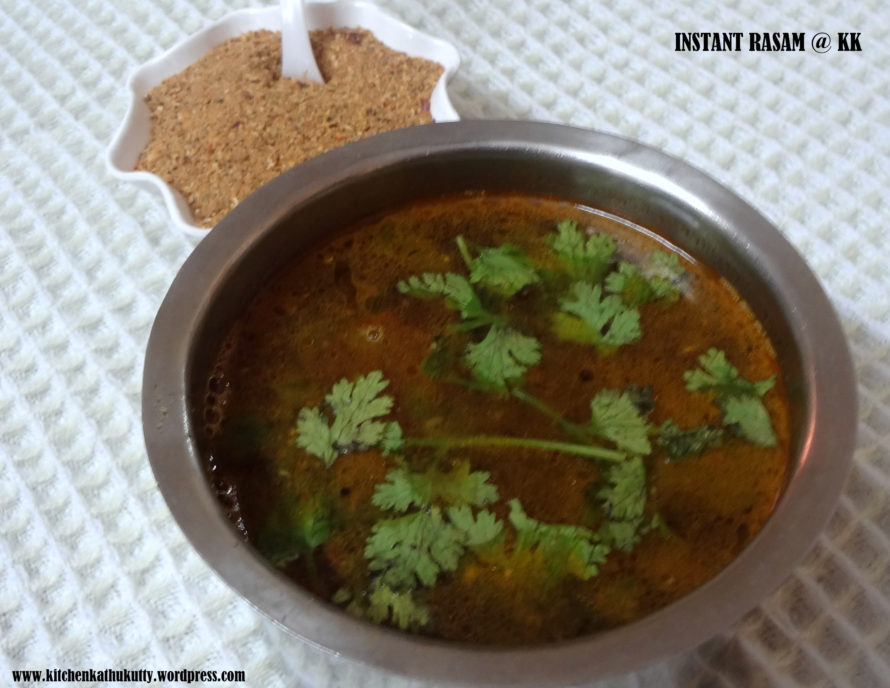 Instant rasam with home made rasam powder