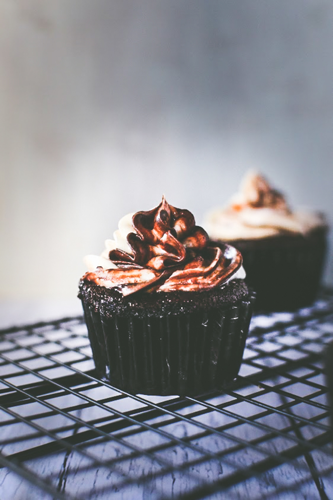 Chocolate Cup Cake with cream cheese toasted coconut frosting