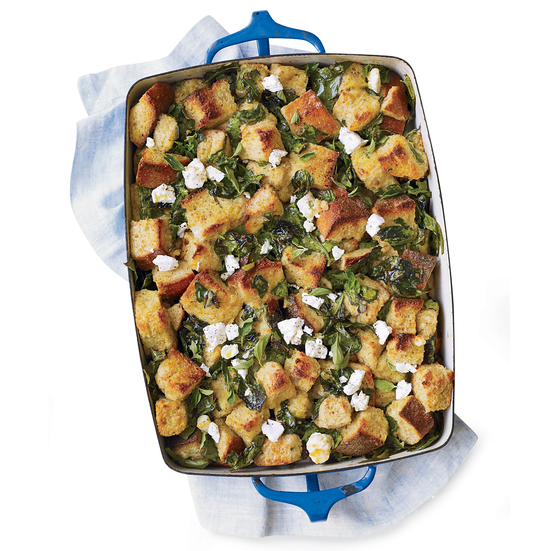 Spinach Bread Pudding with Lemon and Feta