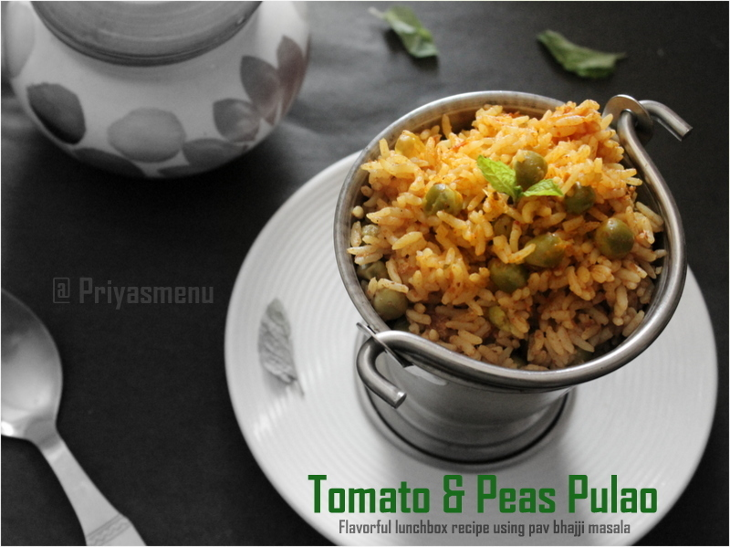 Tomato & Peas Rice / One Pot Meal / Thakali & Pattani Satham / Pressure cooker method
