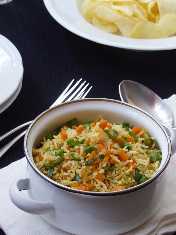 Carrot Rice with Spring Onions