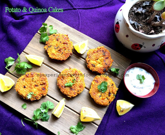 Baked Potato and Quinoa cakes along with a Yogurt Dip
