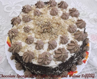 Chocolate Sponge With Coffee Cream And Walnut Topping