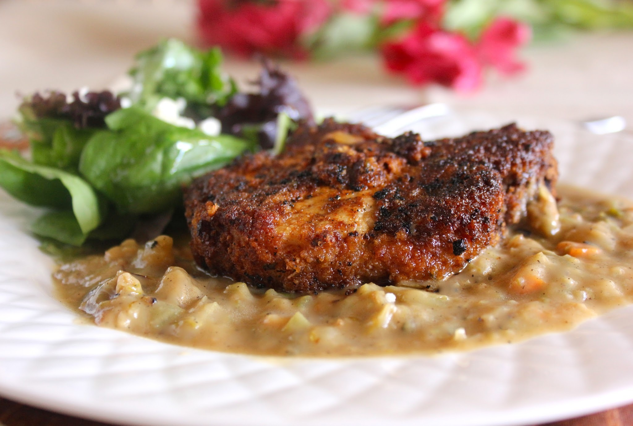 Breaded Pork Chops with Gravy