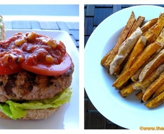 Dining with the Doc: Salsa Turkey Burgers with Avocado Crema and Oven Roasted Sweet Potato Wedges