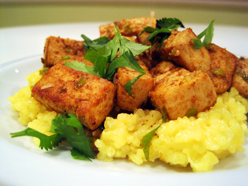 spicy tofu with coconut rice