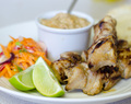 Chicken Satay with Thai Carrot and Radish Salad
