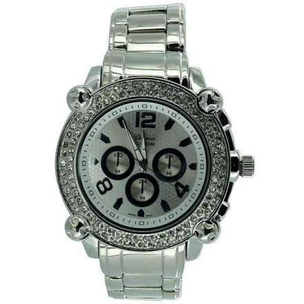 Klocka Heavy Chrono Platinum Bling Watch