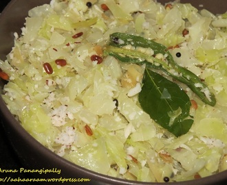 Cabbage Thoran or Muttaikose Poriyal (Cabbage Kura or Patta Gobi Bhaji)