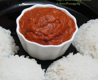 Tomato Ullipaya Pachadi or Tomato and Onion Chutney for Idli and Dosa