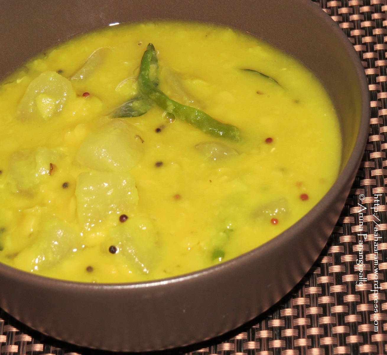 Dosakaya Pappu (Lentils with Yellow Cucumber)