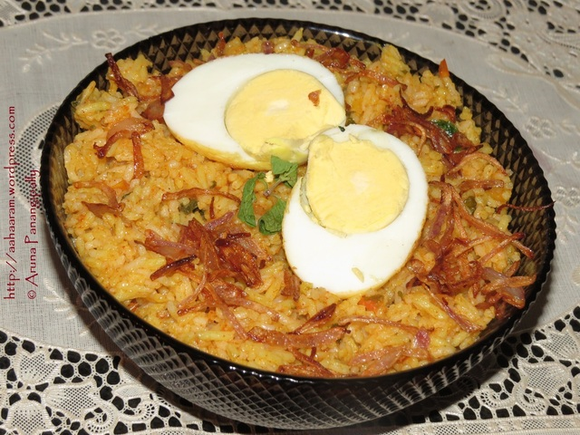 Egg Biryani or Anda Biryani with Coconut Milk