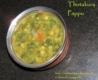 Thotakura Pappu (Amaranth Leaves with Lentils)