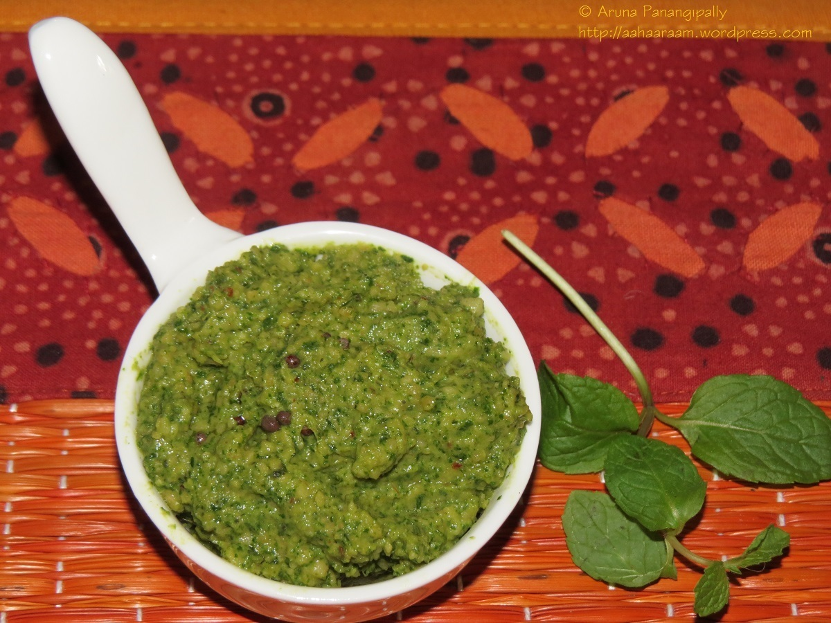 Pudina Pachadi or Mint Chutney for Rice – Andhra Style