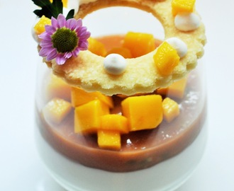 mousse de coco, goiaba, maracujá e manga | coconut mousse, guava, passion fruit and mango
