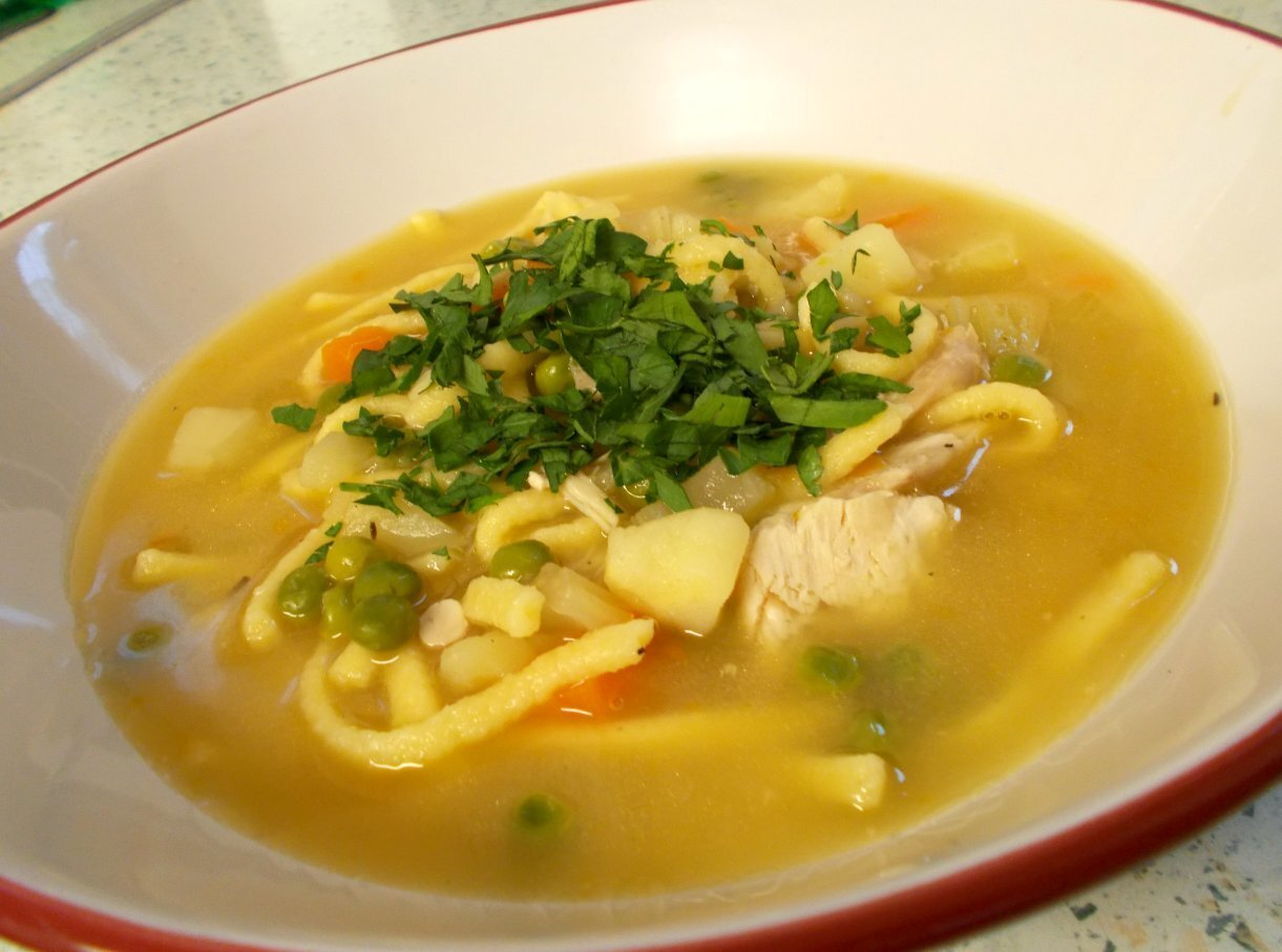 German Style Chicken Soup with Spaetzle