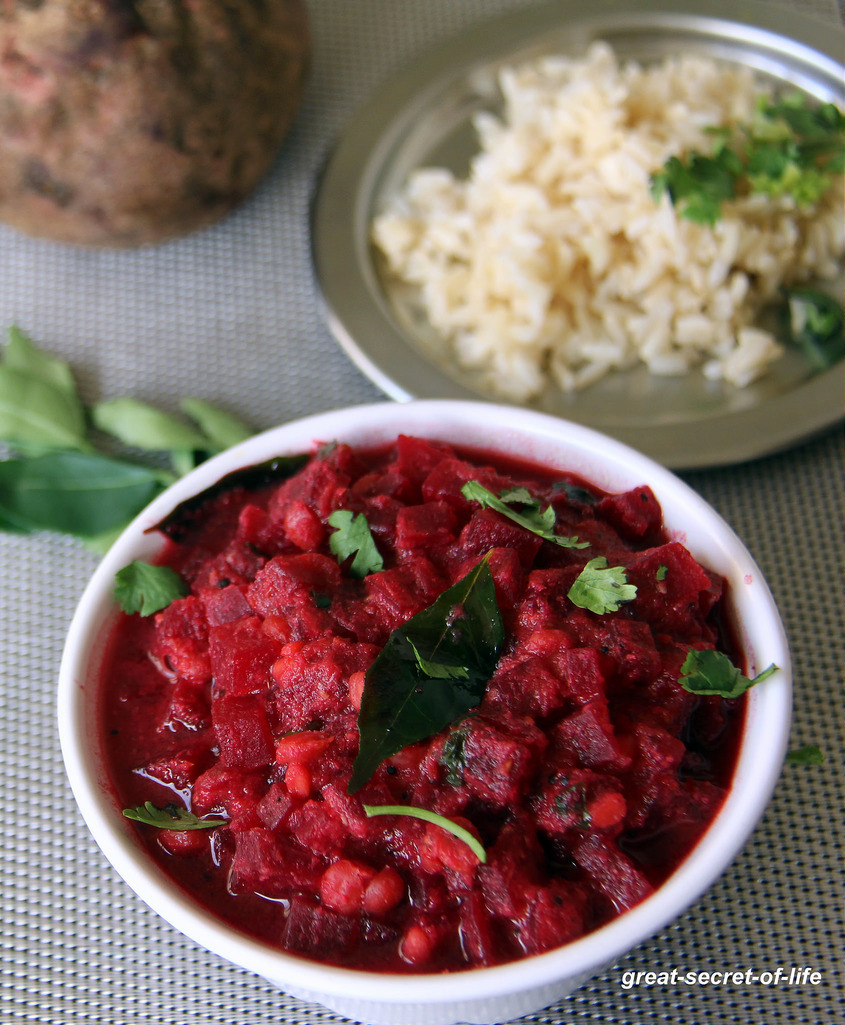 Beetroot Kootu Recipe - Beet and Lentil Gravy flavoured with Coconut - Simple beet recipe - Simple side dish for rice, roti, pulka
