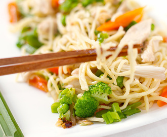 Stir fried noodles with Chicken and oyster mushrooms