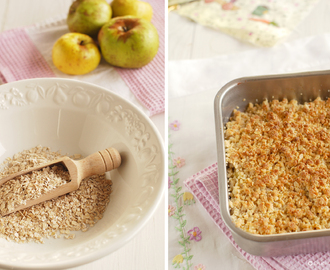 Crumble de manzanas con copos de avena (Apple crumble with oat flakes)