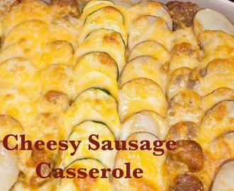 Cheesy sausage and zucchini casserole (recipe).