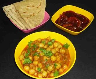 Chana masala North Indian style recipe - how to make chana masala using instant chana masala powder - chickpea masala recipe - bachelors recipe