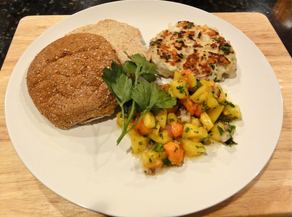 Tilapia Burgers with Tropcial Fruit Salsa