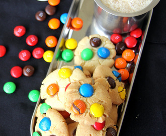 M&M cookies - Candy cookies - Eggless M&M Cookies - Kids friendly recipe