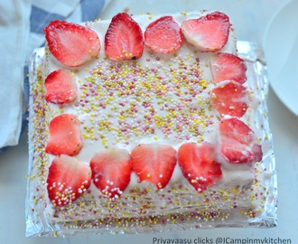 Eggless Strawberry Cake- Using fresh strawberries
