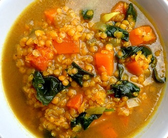 Butternut squash, lentil and spinach soup - low calorie and boosting your immune system.