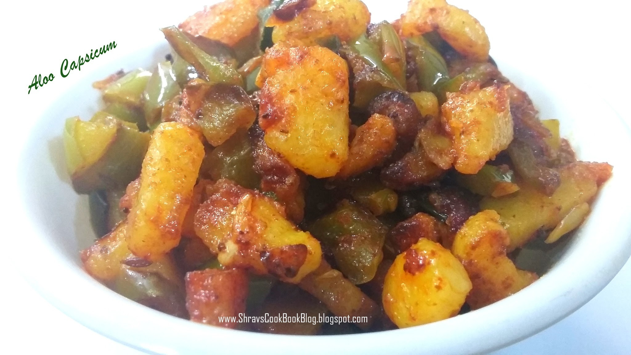 Capsicum Aloo Recipe - Potato Capsicum Sabzi for Chapati