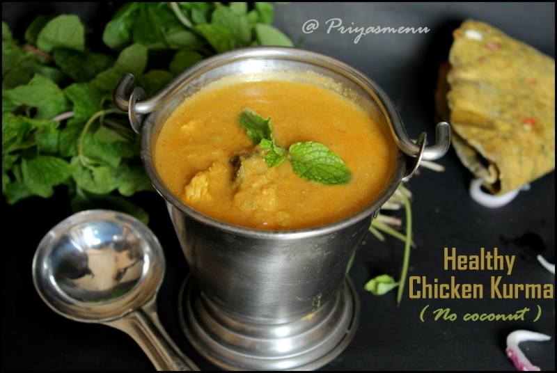Healthy Chicken Kurma ( No Coconut ) / Diet Friendly Recipe - 42 / #100dietrecipes
