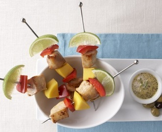 Summer grilling: Chicken Mango Skewers with Lime Poppy Seed Drizzle