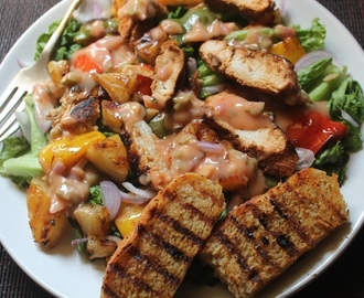 Spicy Grilled Chicken Salad Recipe - Chicken Salad with Thousand Island Dressing