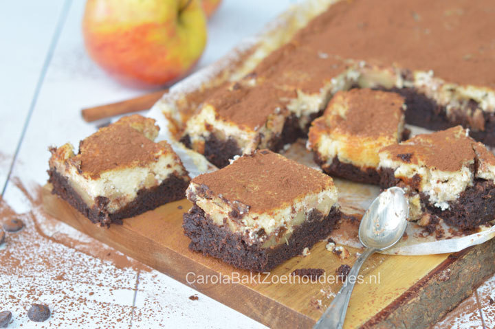 Brownie met appeltaart-cheesecake