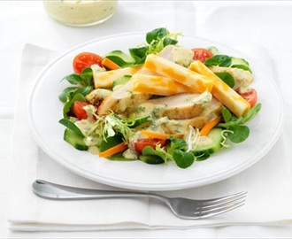 Green salad with curried yogurt dressing