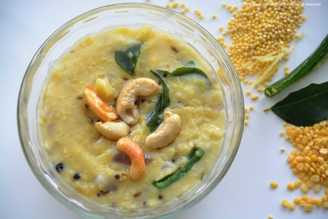 Khara millet pongal - a spicy porridge of millets, lentils, peppers and chilies