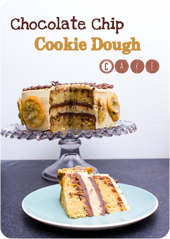 A Chocolate Chip Cookie Dough Layer Cake for when you are in need of a cookie overdose!